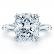 2.24 Ct. Cushion Cut Solitaire Diamond Ring With Baguette Shape Side Diamonds