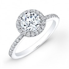 1.29 Ct. Round Brilliant Solitaire Diamond Ring With Round Brilliant Side Diamonds