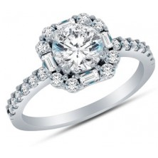 1.78 Ct. Round Brilliant Solitaire Diamond Ring With Baguette Shape and Round Brilliant Side Diamonds