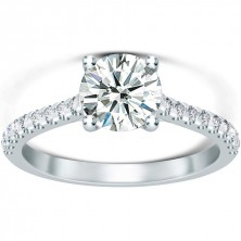 1.36 Ct. Round Brilliant Solitaire Diamond Ring With Round Brilliant Side Diamonds