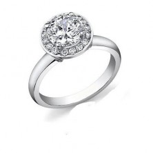 1.32 Ct. Round Brilliant Solitaire Diamond Ring With Round Brilliant Side Diamonds
