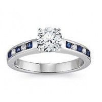 0.66 Ct. Rond Brilliant Solitaire Diamond Ring With Round Brilliant Diamonds and Round Shape Side Blue Sapphire
