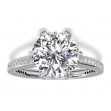 4.44 Ct. Round Brilliant Solitaire Diamond Ring With Round Brilliant Side Diamonds