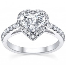 1.36 Ct. Heart Shape Solitaire Diamond Ring With Round Brilliant Side Diamonds