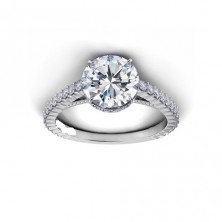 1.56 Ct. Round Brilliant Solitaire Diamond Ring With Round Brilliant Side Diamonds
