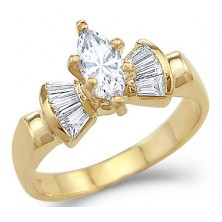 0.98 Ct. Marquise Shape Solitaire Diamond Ring With Baguette Shape Side Diamonds