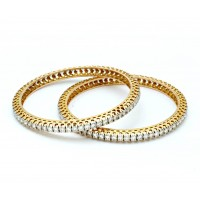 Single Line Bangle In Prong set Round Brilliant Diamonds.