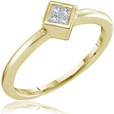 4 Diamond Square Shape Set Ring