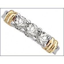 3 Diamond Ring with side Gold Bars