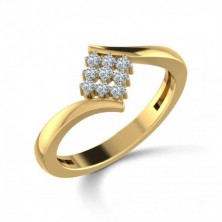 Square Shape Set Cris Cross 9 Diamond Ring