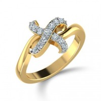""" X "" Shape Set Cris Cross Diamond Ring"